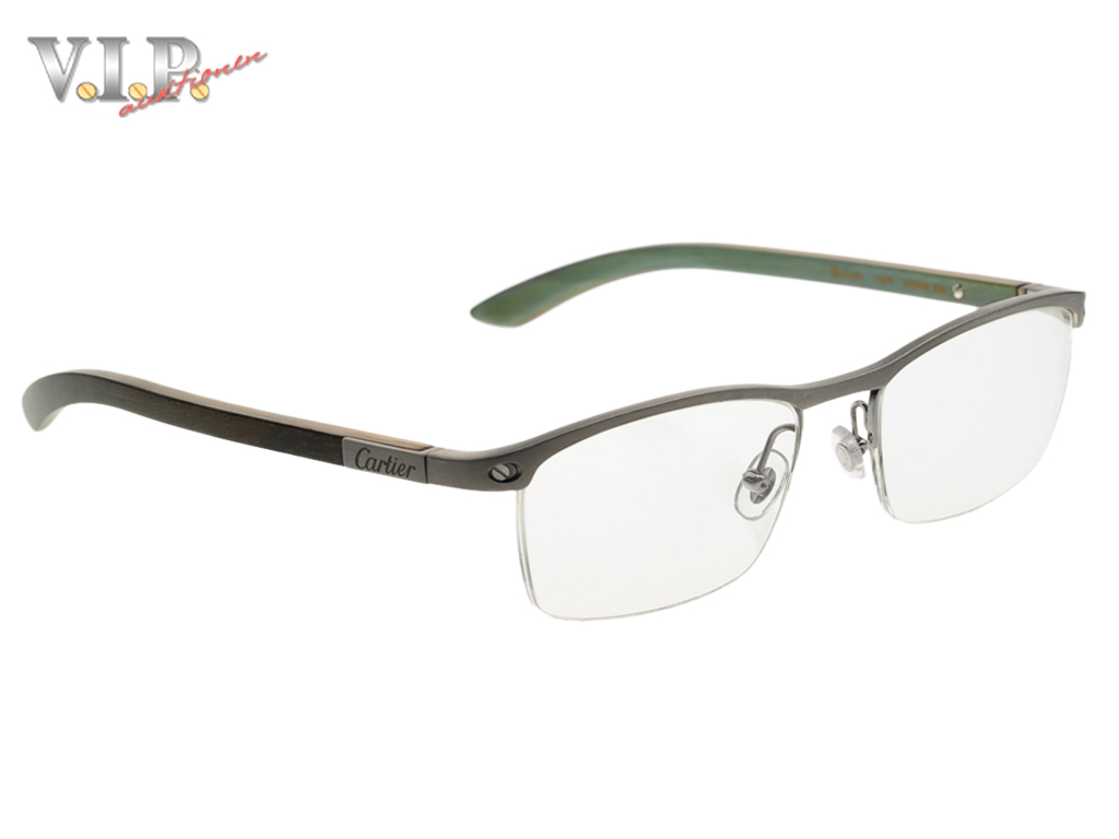 cartier santos wood titanium glasses eye glasses half