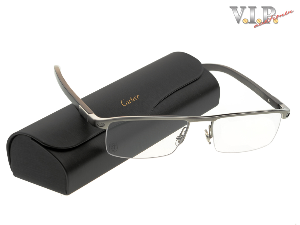 CARTIER SANTOS BRILLE METALL+HOLZ EYE-GLASSES WOOD+METAL HALF-FRAME ...